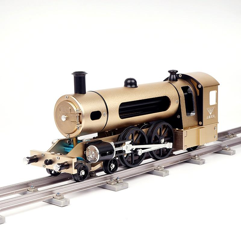 土星工匠師四輪水柜式蒸汽機車金屬拼裝模型3D金屬拼裝拼插模型DIY大人玩具高難度機械組裝擺件收藏品DM21