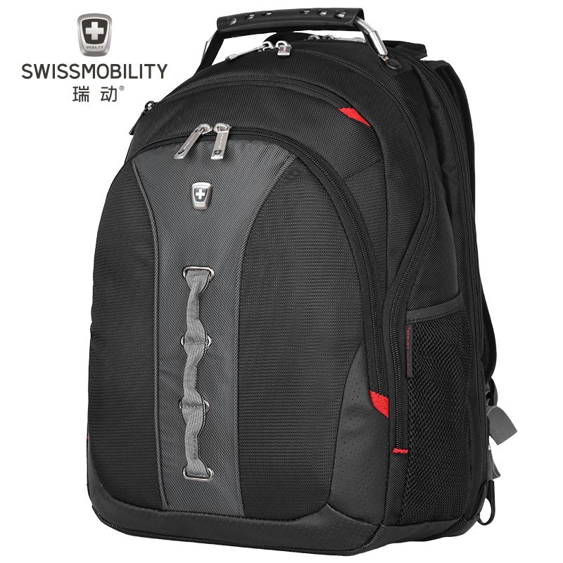 瑞动(SWISSMOBILITY)电脑双肩背包MT-7329商务时尚休闲系列 15.6英寸 灰绿黑色