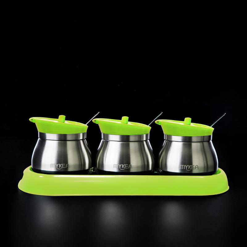 謎家 304不銹鋼廚房佐料盒家用調料盒調味罐作料盒調味盒組合套裝廚房用品三件套 綠色B9451-5 260ml B9451-5