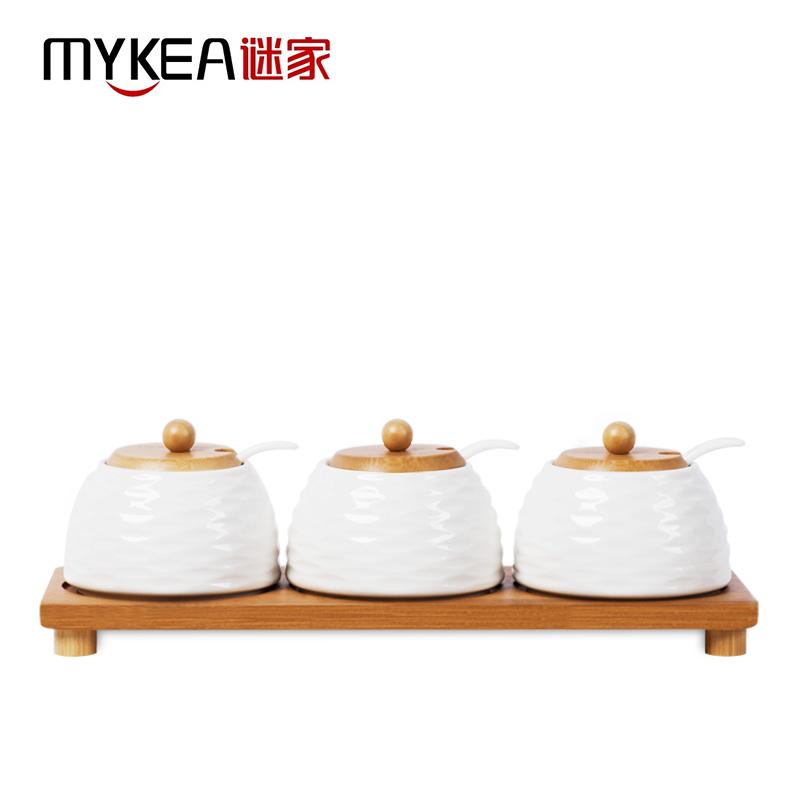 谜家 陶瓷调料?#26800;魑豆?#35843;味盒套装厨房用品三件套 白色  240ML*3 J1504004