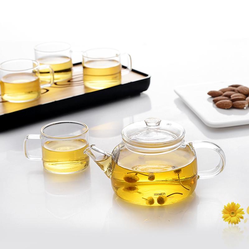 謎家玻璃茶壺泡茶壺花茶壺紅茶黑茶煮茶器耐高溫茶水壺曦露旅行套裝(BH180101)1壺4杯1托盤