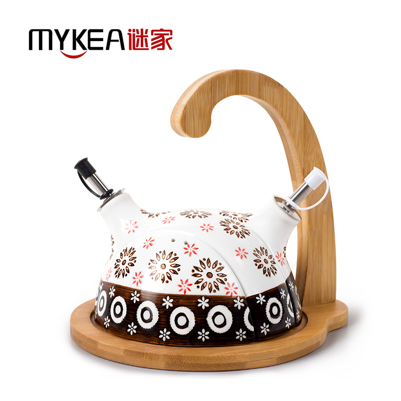 謎家陶瓷油壺密封罐套裝儲物罐調料調味罐調料盒廚房用品帶竹木底座粉紅色(J1704138)240ML