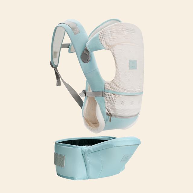 抱抱熊多功能背带腰凳0-36个月G01湖水蓝(透气款)