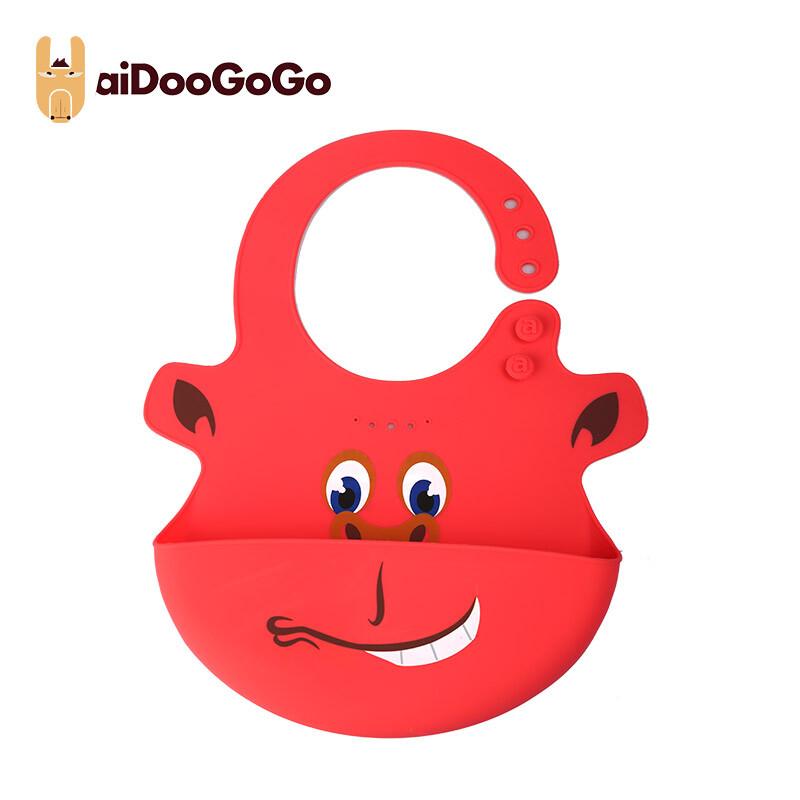 美國aiDooGoGo寶寶硅膠飯兜創意學吃飯防水便捷圍兜防臟 飯兜紅色