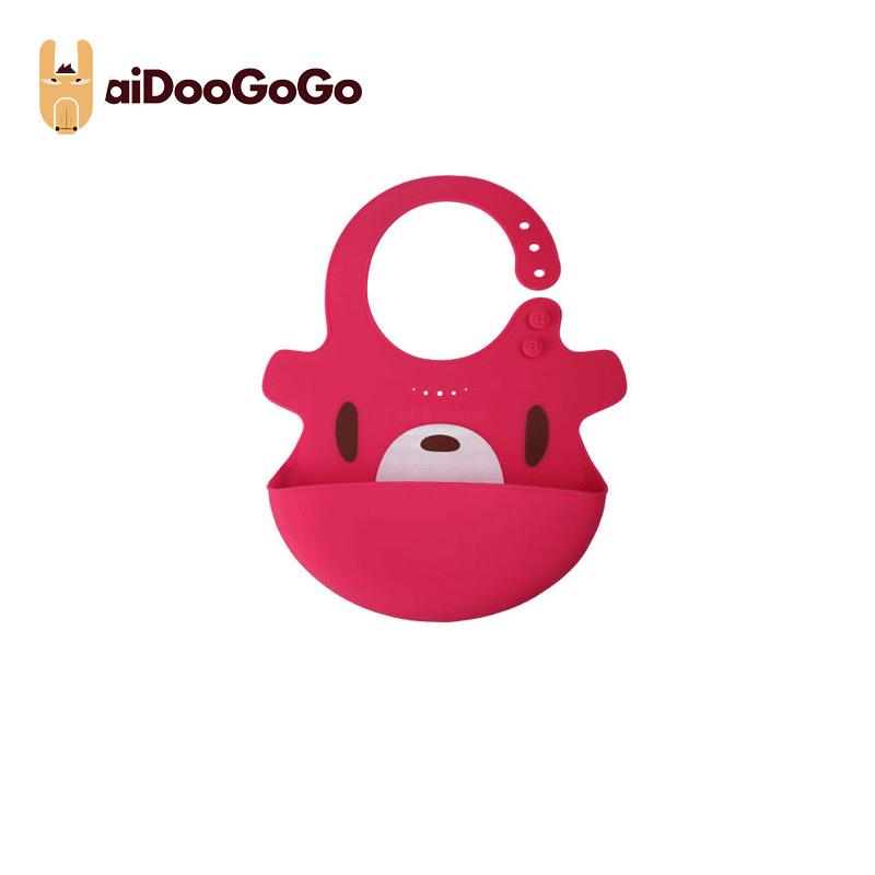 美國aiDooGoGo寶寶硅膠飯兜創意學吃飯防水便捷圍兜防臟 飯兜玫紅