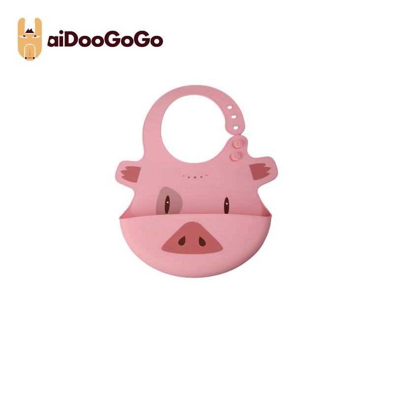 美國aiDooGoGo寶寶硅膠飯兜創意學吃飯防水便捷圍兜防臟 飯兜粉色