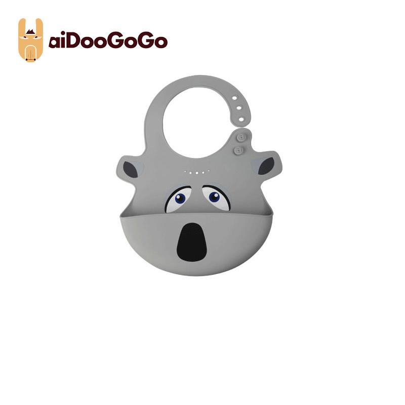美國aiDooGoGo寶寶硅膠飯兜創意學吃飯防水便捷圍兜防臟 飯兜灰色
