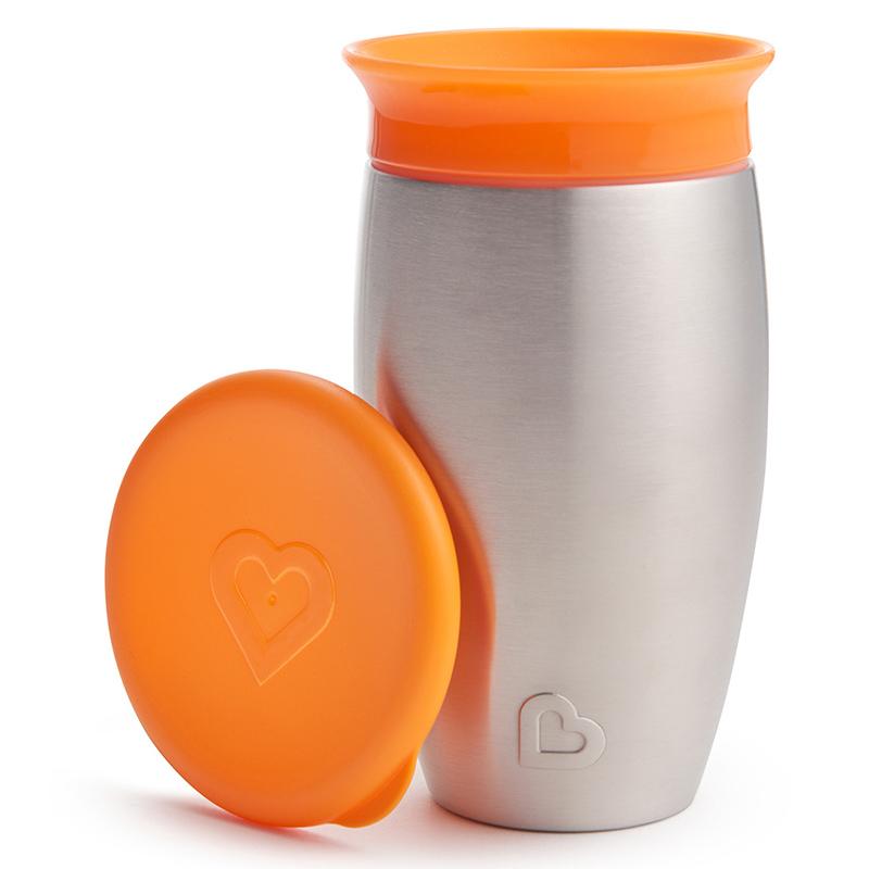 滿趣健10盎士Miracle?360度不銹鋼防漏灑杯 橙色