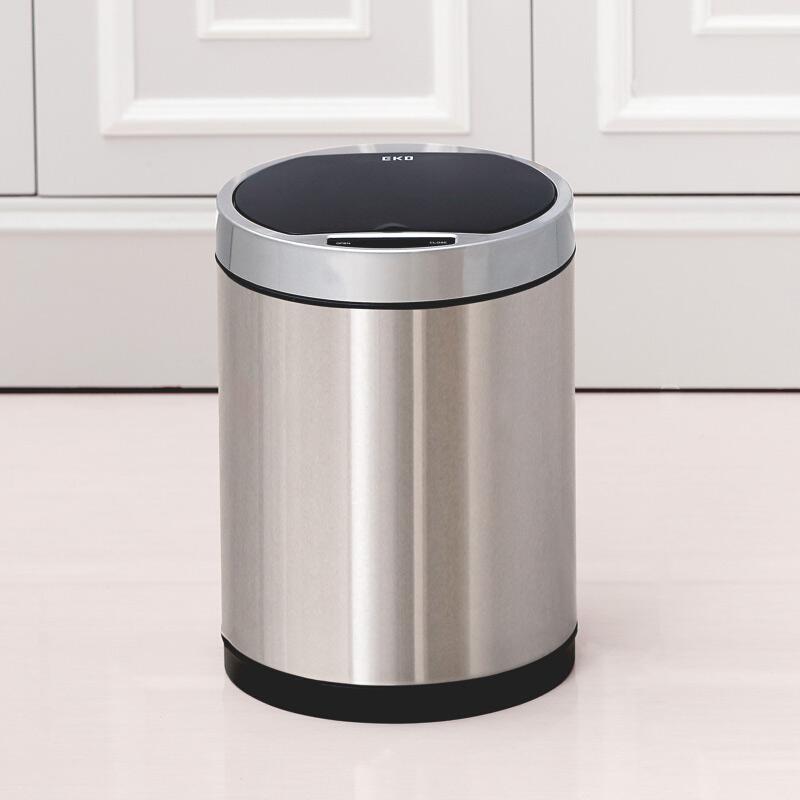 EKO 多可自动感应垃圾桶家用充电智能红外感应电动卫生间客厅创意翻盖抖音同款垃圾筒 9285 砂钢 9升套装