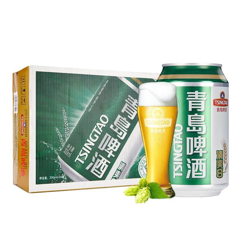 青島啤酒清爽8度330*6*4塑膜裝金標罐啤