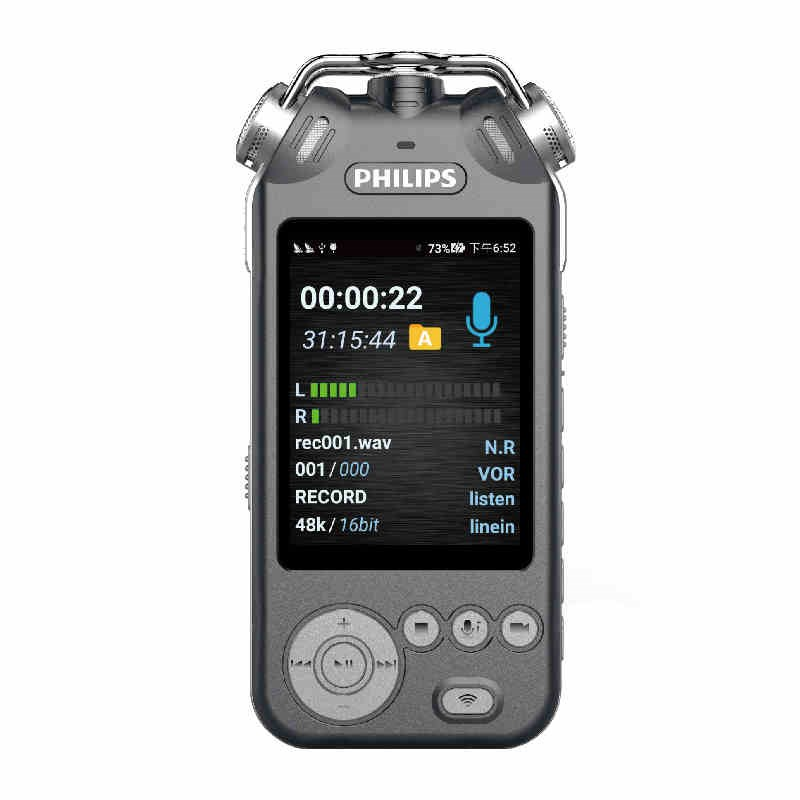 飛利浦VTR9200智能錄音筆 專業語音轉文字商務會議 高清錄像降噪銀